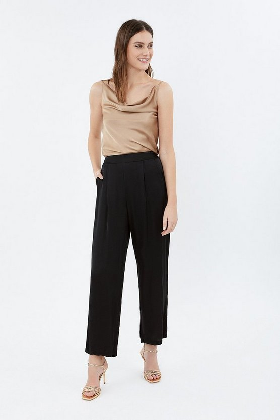 Black Wide Leg Satin Relaxed Trousers