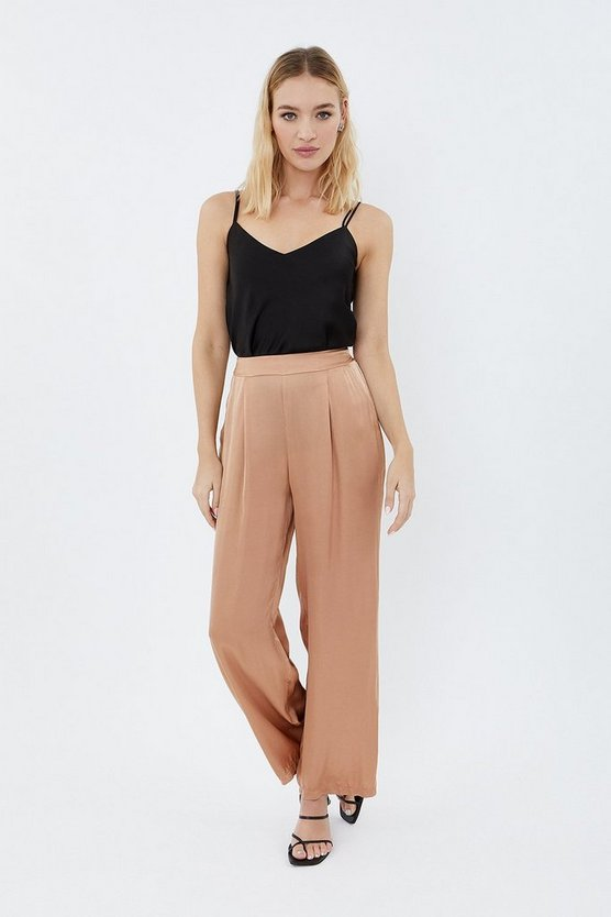 Natural Wide Leg Satin Relaxed Trousers