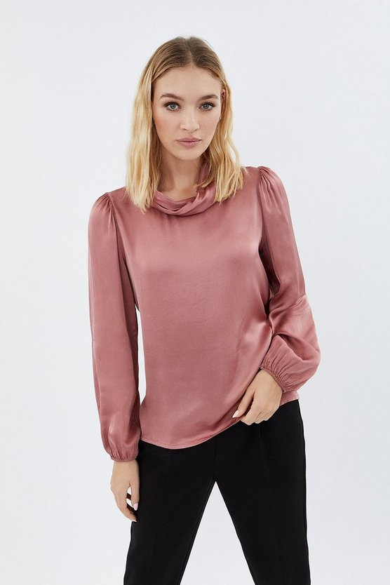 Blush Satin Roll Neck Long Sleeve Top