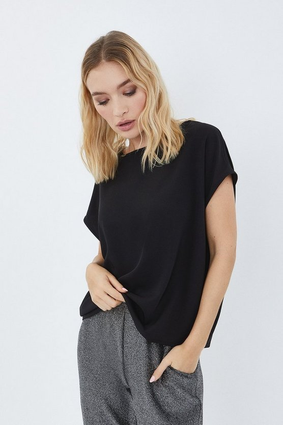 Black Relaxed Crepe T-Shirt