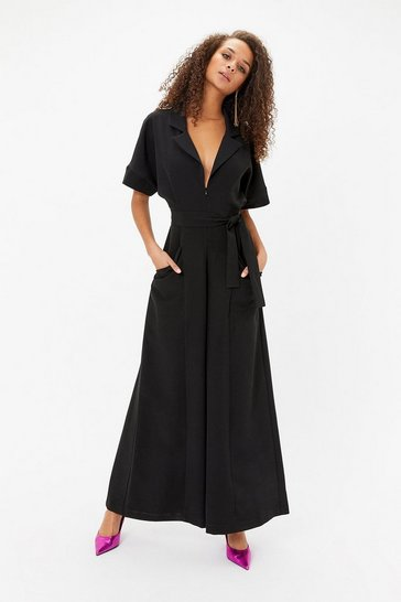 Black Collared Zip Front Jumpsuit