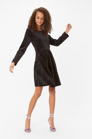 Black Animal Velvet Smock Dress