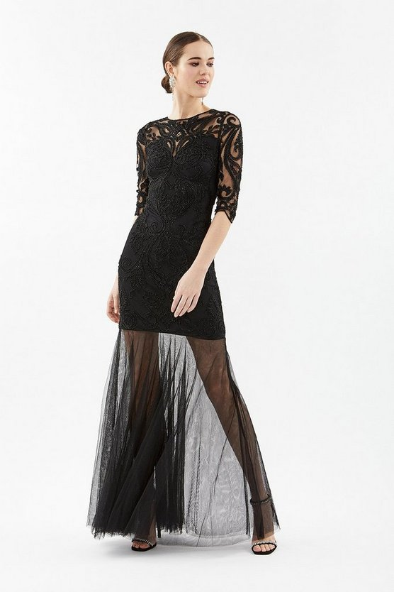 Black 3/4 Sleeve Sequin Maxi With Fishtail Mesh Hem