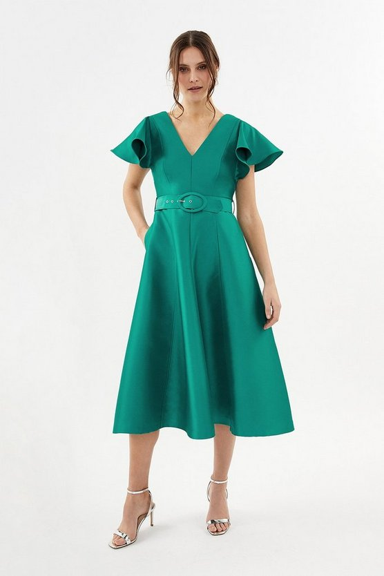 Green Belted Full Midi Dress