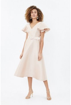 Mink Belted Full Midi Dress