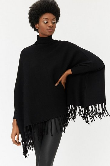 Black Polo Neck Poncho