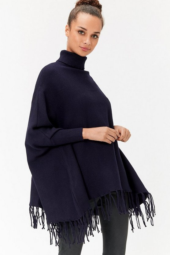 Navy Polo Neck Poncho