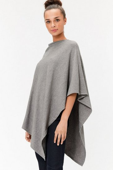Womens Grey Embellished Poncho