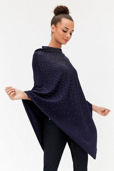 Womens Navy Embellished Poncho