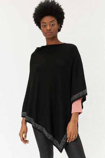 Womens Black Embellished Hem Poncho