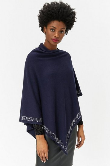 Womens Navy Embellished Hem Poncho