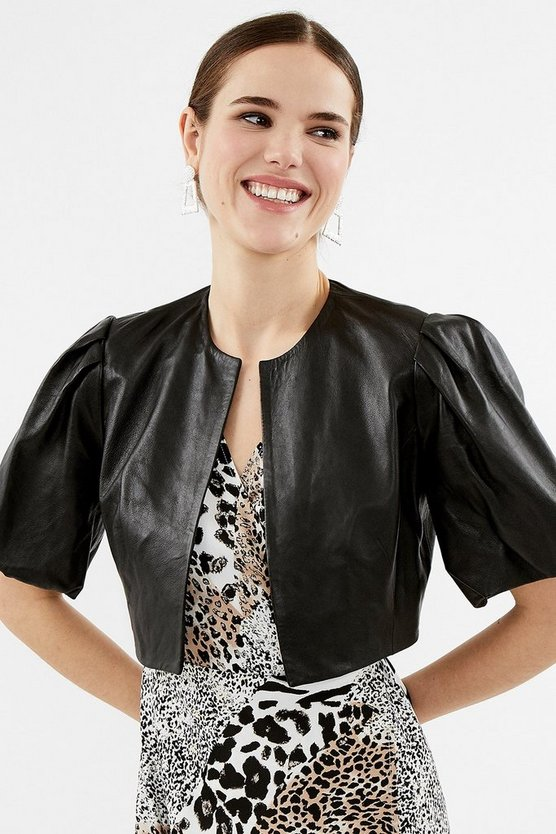 Black Puffed Sleeve Cropped Leather Jacket