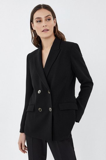 Black Soft Tailoring Double Breasted Jacket