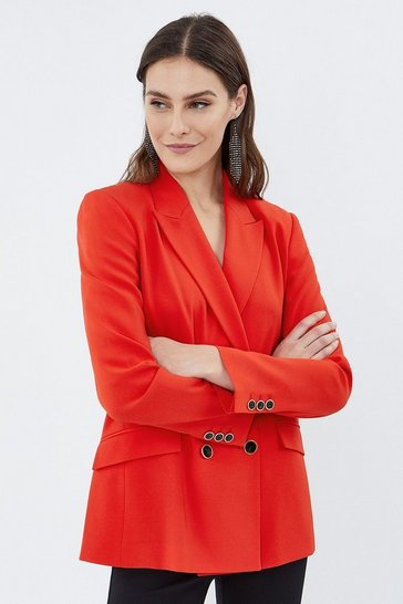 Red Soft Tailoring Double Breasted Jacket