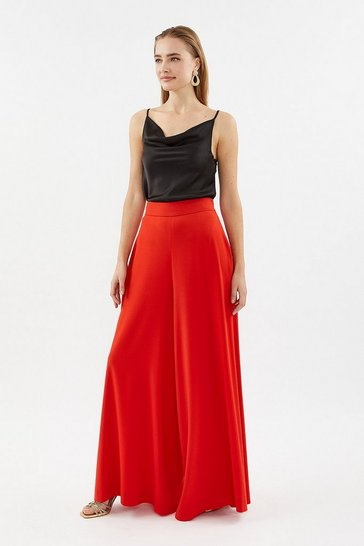 Red Super Wide Leg Trouser