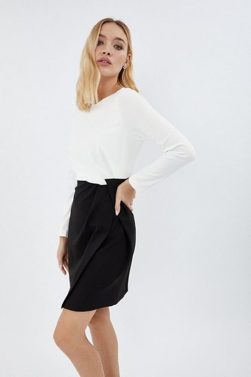 Blackwhite Stretch Crepe Twist Dress