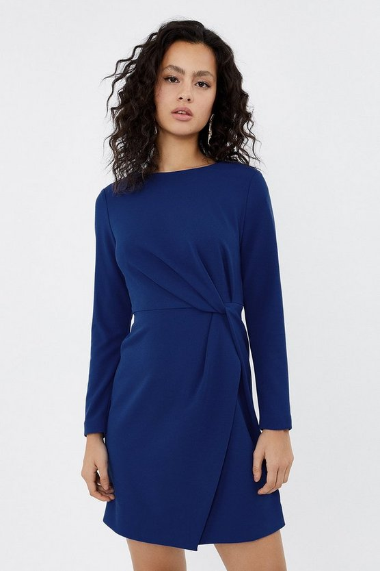 Cobalt Stretch Crepe Twist Dress