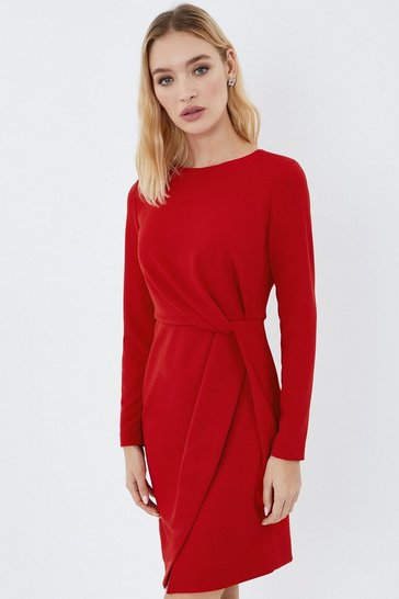 Red Stretch Crepe Twist Dress