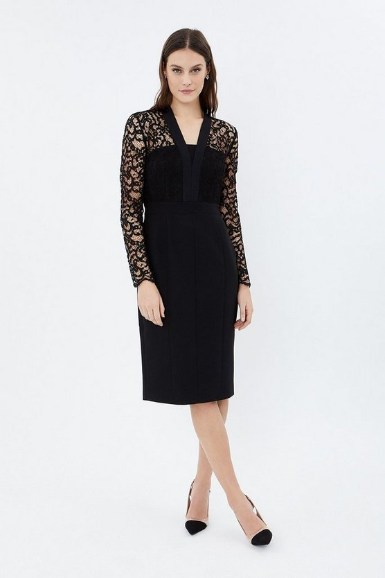 Black Lace Tailored Dress