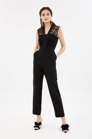 Black Lace Tailored Jumpsuit