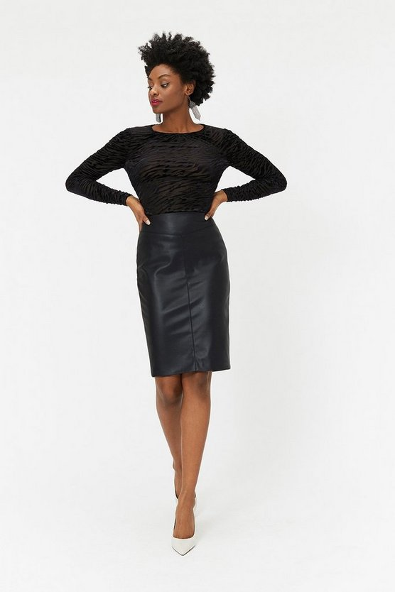 Black Faux-Leather Skirt