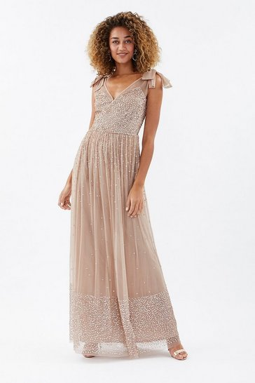 Taupe Scatter Embellished Maxi Dress