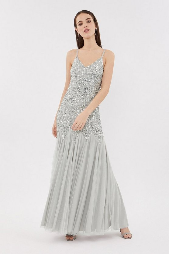 Grey Strappy Sequin Maxi Dress