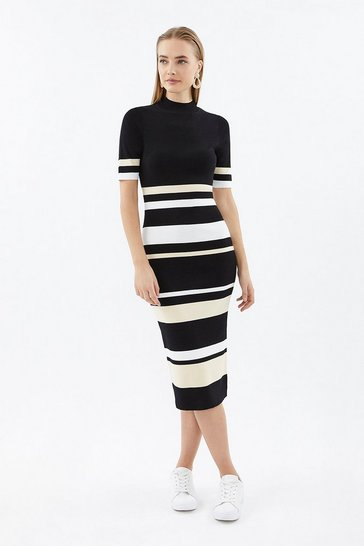 Multi Pleated Stripe Rib Knit Dress