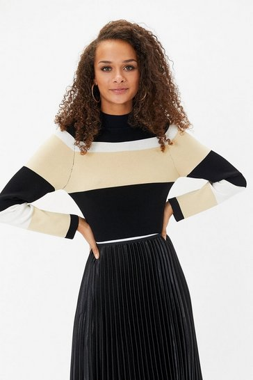 Multi Pleated Stripe Rib Knit Top
