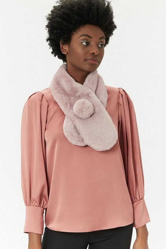 Womens Blush Faux Fur Pom Pom Scarf