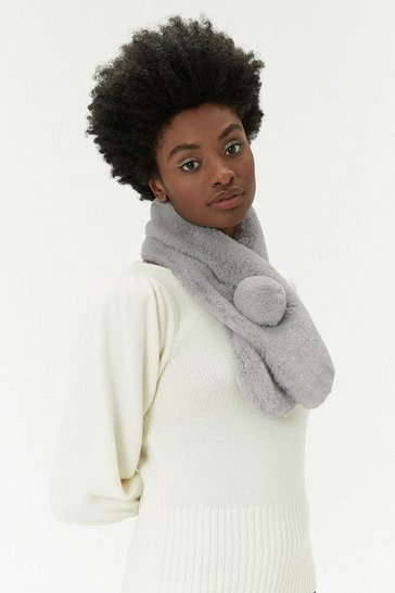Womens Grey Faux Fur Pom Pom Scarf