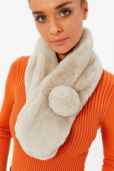 Womens Natural Faux Fur Pom Pom Scarf