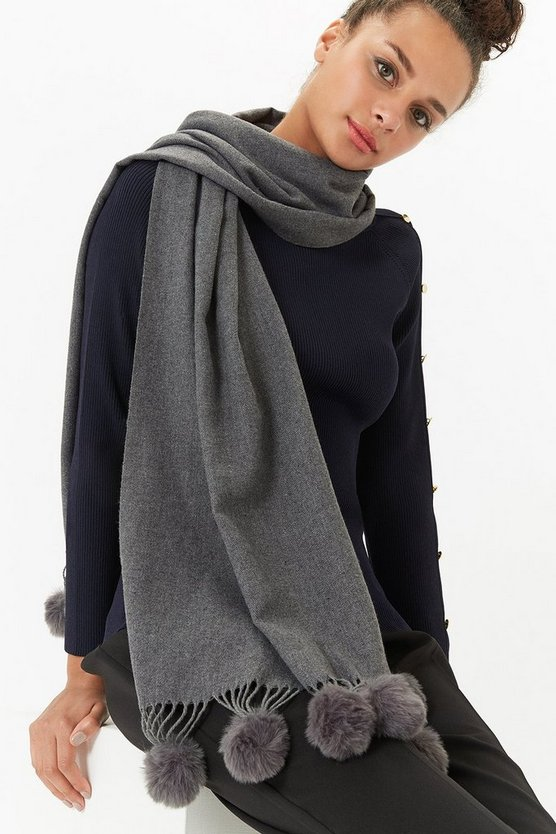 Womens Grey Pom Pom Trim Scarf