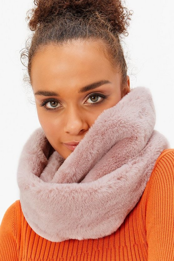 Womens Blush Faux-Fur Snood