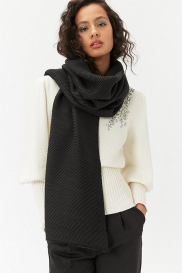 Womens Black Pleated Scarf