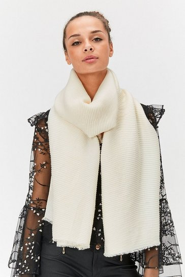 Womens Ivory Pleated Scarf