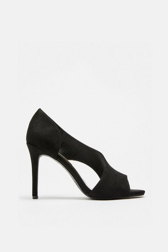 Black Cut Out Court Shoes