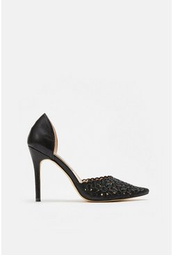 Black Laser Cut Embroidered Pointed Heel