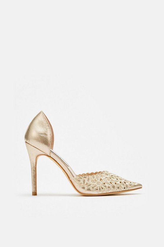 Gold Laser Cut Embroidered Pointed Heel