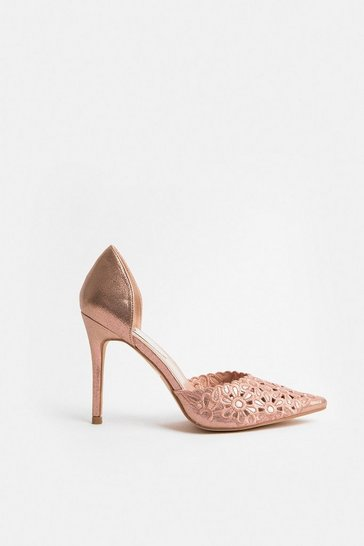 Pink Laser Cut Embroidered Pointed Heel