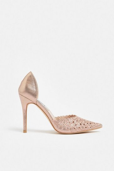Rose gold Embroidered Court Heels