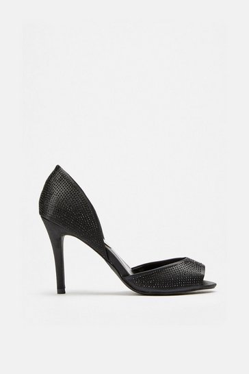 Black Diamante 2 Part Peep Shoes