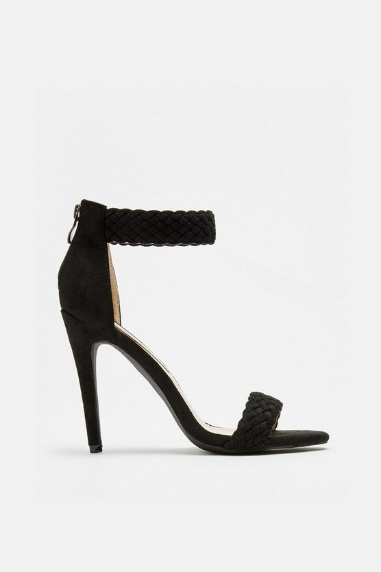 Womens Black Woven Ankle Cuff Sandal