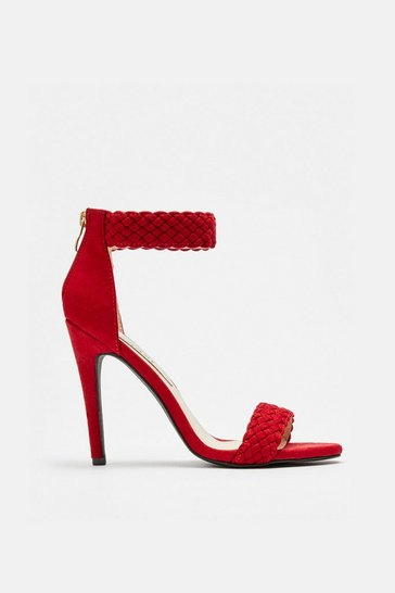 Red Woven Ankle Cuff Sandals