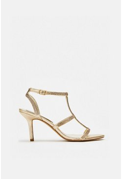 Champagne Diamante Strappy Sandals