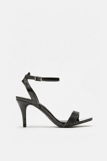Black Diamante Ankle Strap Sandals