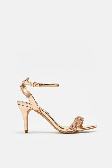 Rose gold Diamante Ankle Strap Sandals