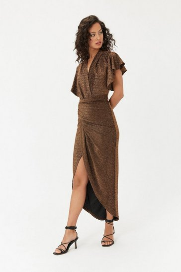 Bronze Sparkle V Neck Midi Dress