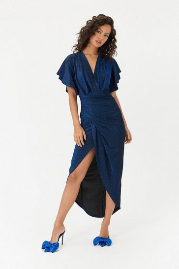 Cobalt Sparkle V Neck Midi Dress