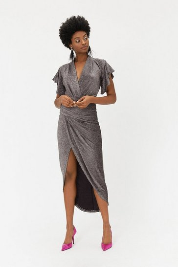 Silver Sparkle V Neck Midi Dress